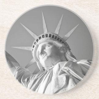 Black White Statue of Liberty Sandstone Coaster
