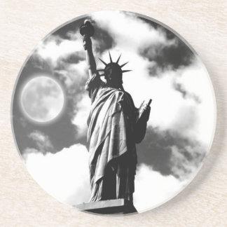 Black & White Statue of Liberty Sandstone Coaster