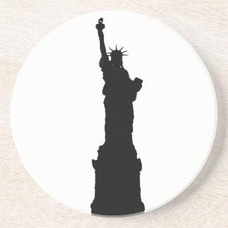 Black & White Statue of Liberty Silhouette Coaster