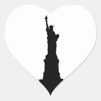Black & White Statue of Liberty Silhouette Heart Sticker