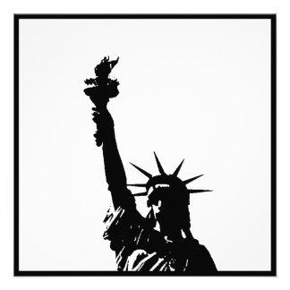 Black White Statue of Liberty Silhouette Invites