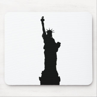 Black & White Statue of Liberty Silhouette Mouse Pad