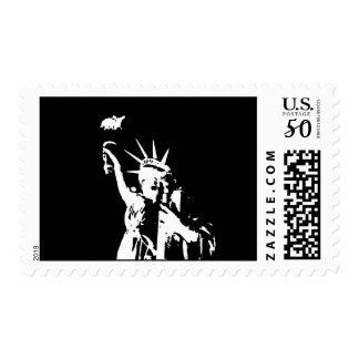 Black & White Statue of Liberty Silhouette Postage