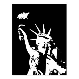 Black & White Statue of Liberty Silhouette Postcard