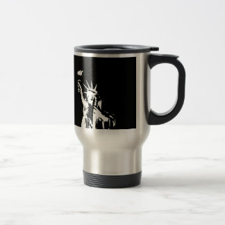 Black & White Statue of Liberty Silhouette Travel Mug