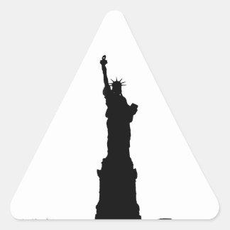 Black & White Statue of Liberty Silhouette Triangle Sticker