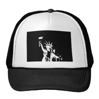 Black & White Statue of Liberty Silhouette Trucker Hat