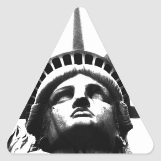 Black White Statue of Liberty Triangle Stickers