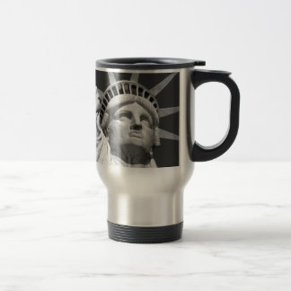 Black & White Statue of Liberty Travel Mug
