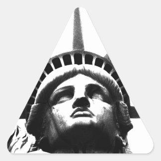 Black & White Statue of Liberty Triangle Sticker