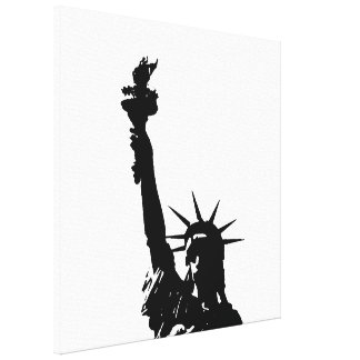 Black & White Statue of Liberty Wrapped Canvas Canvas Print