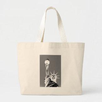Black & White Statueof Liberty New York City Large Tote Bag