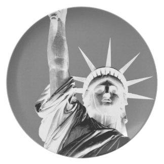 Black & White Statueof Liberty New York City Melamine Plate