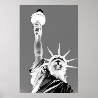 Black & White Statueof Liberty New York City Poster