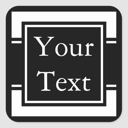 Black & White Stickers or Labels w/ Custom Text