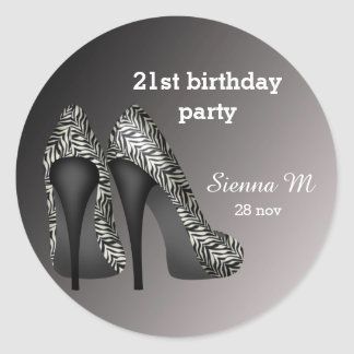 Black White Stilettos birthday Classic Round Sticker
