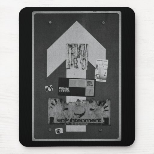 """black & white """"straight ahead"""" road sign mousepad"""