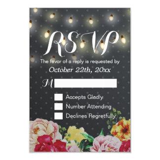 Black White String Lights Floral Wedding RSVP Card