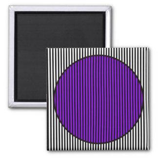 BLACK & WHITE STRIP PURPLE & BLACK CIRCLE MAGNET