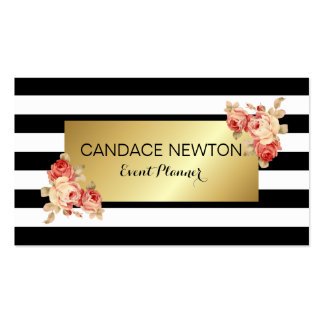 Black & White Stripe and Gold With Vintage Roses Business Card