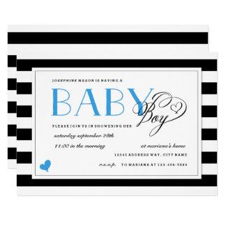 Black & White Stripe Baby Boy Shower Blue Accents Card