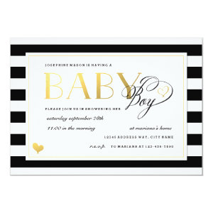 Black & White Stripe Baby Boy Shower Gold Accents 5x7 Paper Invitation Card