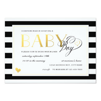Black & White Stripe Baby Boy Shower Gold Accents Card