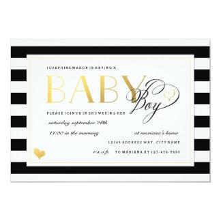 Black & White Stripe Baby Boy Shower Gold Accents 5x7 Paper Invitation Card