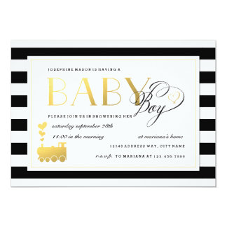 Black & White Stripe Baby Boy Shower Gold Train Card