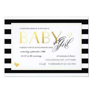 Black & White Stripe Baby Girl Shower Gold Accents 5x7 Paper Invitation Card