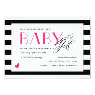 Black & White Stripe Baby Shower Hot Pink Accents 5x7 Paper Invitation Card