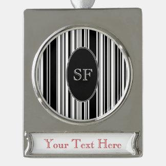 Black White Stripe Barcode Monogram Silver Plated Banner Ornament