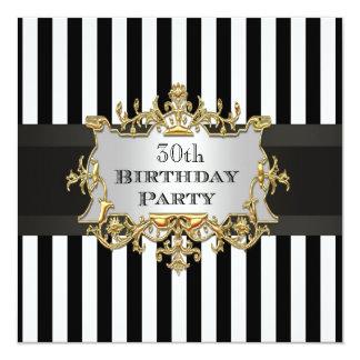 Black White Stripe Birthday Party Invit Card
