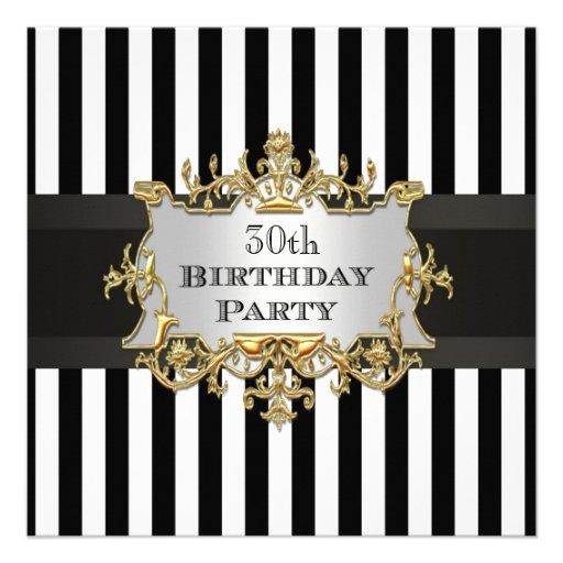 Black White Stripe Birthday Party Invit Personalized Invitations