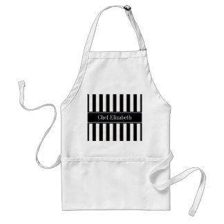 Black White Stripe Black Name Monogram Adult Apron