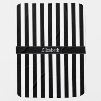 Black White Stripe Black Name Monogram Baby Blanket