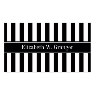 Black White Stripe Black Name Monogram Business Card Template