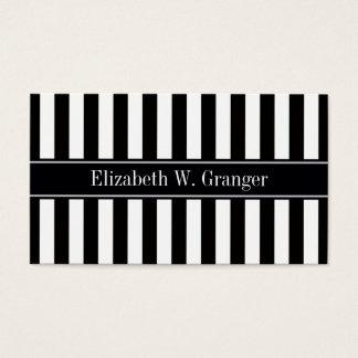 Black White Stripe Black Name Monogram Business Card