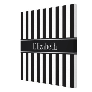 Black White Stripe Black Name Monogram Canvas Print