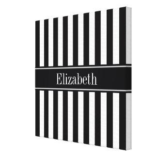 Black White Stripe Black Name Monogram Canvas Print