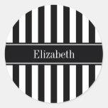 Black White Stripe Black Name Monogram Classic Round Sticker