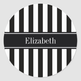 Black White Stripe Black Name Monogram Classic Round Sticker