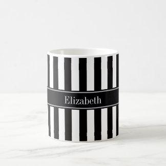 Black White Stripe Black Name Monogram Coffee Mug
