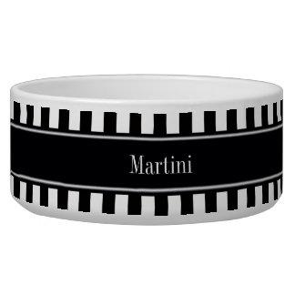 Black White Stripe Black Name Monogram Dog Bowls