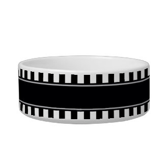Black White Stripe Black Name Monogram Pet Food Bowl