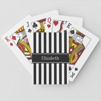 Black White Stripe Black Name Monogram Playing Cards