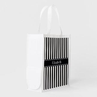 Black White Stripe Black Name Monogram Reusable Grocery Bag