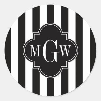 Black White Stripe Black Quatrefoil 3 Monogram Classic Round Sticker