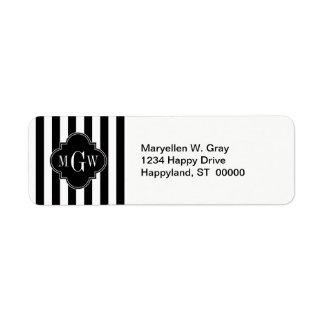 Black White Stripe Black Quatrefoil 3 Monogram Return Address Labels