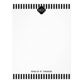 Black White Stripe Black Quatrefoil 3 Monogram Letterhead